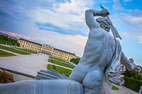 Schönbrunn Palace and gardens from Neptune fountain, Vienna, Austria, Europe