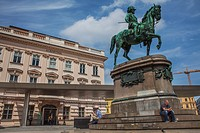 Equestrian statue Albrecht Monument and Albertina Palace museum, Vienna, Austria, Europe