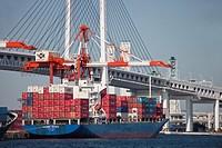 Crane loads containers-bridge-port-Yokohama-Japan
