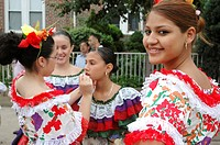 New York City, dancers at the annual July Colombian Day Parade held in Jackson Heights, Queens