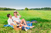 Picnic _ Romantic couple in sunny meadows