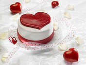 The Word Love on Heart Shaped Cake