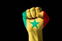 Fist painted in colors of senegal flag