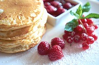 -Sweet Desserts- Pancake with Raspberries.