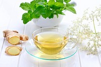 Ginger tea with elder flower and mint