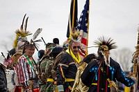 Mt. Airy, Maryland: April 13, 2008. A group of Native Americans at the intertribal Healing Horse Spirit PowWow in Mt. Airy, Maryland stands at the ent...