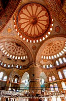 Interior of Sultan Ahmed Mosque Sultanahmet, also called the Blue Mosque, Istanbul, Turkey.