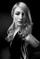 B and W Glamour portrait of blond woman