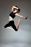 attractive jumping woman