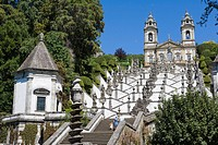 Igreja do Bom Jesus with the chapel, Escadorio dos Cinco Sentidos, Staircase of Five Senses, Santuario do Bom Jesus do Monte, Good Jesus of the Mount ...