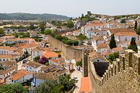 View of Obidos from the city wall, Castelo de Obidos, Obidos Castle, Obidos, Leiria District, Pinhal Litoral, Portugal
