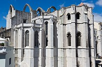 The Carmo Convent, Convento da Ordem do Carmo, from the terrace of the Santa Justa Lift, Elevador de Santa Justa, Carmo Lift, Elevador do Carmo, Rua d...