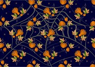 Pumpkins and leaves on a dark background.