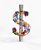Sports equipment arranged in 3d dollar sign