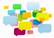 Multicolored speech bubbles on white background