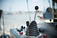Close up of tugboat controls
