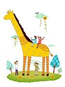 Giraffe and children (thumbnail)