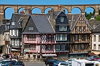 Medieval half timbered houses, with viaduct in the background, old town, Morlaix 29, Finistere, Brittany, France