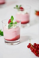 Glasses of yogurt with strawberry