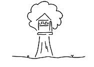 Baumhaus mit Kindern und Baum beim Spielen jpg