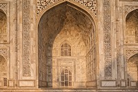 India, Uttar Pradesh, Agra, Calligraphy on Taj Mahal