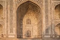 India, Uttar Pradesh, Agra, Calligraphy on Taj Mahal