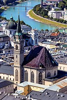 Austria, Salzburg, View from fortress of Hohensalzburg City over River Salzach