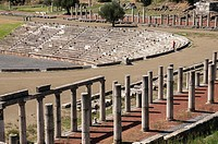 Remains of the doric stoas and stadium, at Ancient Messene, Messinia, Peloponnese, Greece