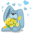 Blue rabbit with daisy flowers