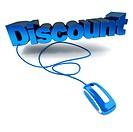 Online discount in blue