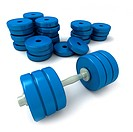 Blue dumbbells and heap of weights