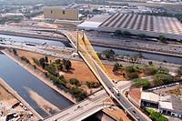 Aerial view, Bridge Estaiada Governador Orestes Quercia, Park Anhembi, River Tiete, Bom Retiro, São Paulo, Brazil
