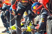 Red Bull pit crew and mechanics ,F1,Testing Barcelona, Spain ,Barcelona .