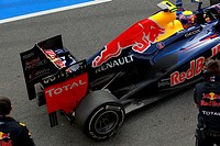 Mark Webber AUS, Red Bull Racing with a new exhaust system ,F1,Testing Barcelona, Spain ,Barcelona 