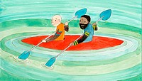 Two people in a kayak