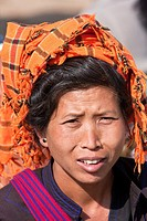 Myanmar, Burma  Woman of Pa-O Ethnic Group at Local Market, Inle Lake, Shan State