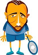 A man holding a broken tennis racket
