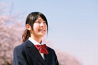 Portrait of a Japanese schoolgirl smiling in her uniform
