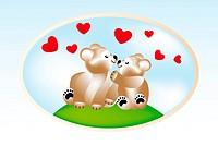 Smiling teddies in love