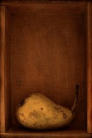 A single blemished pear in a box