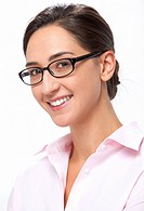 Portrait of a smiling young woman wearing glasses