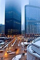 Winter street view of Chicago