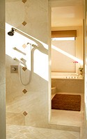 Sun Streaming into Tiled Shower Stall