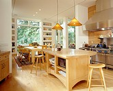 Kitchen and Dining Room with Wood Kitchen Island