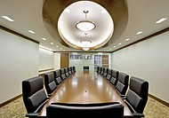 Modern board room with inset ceiling