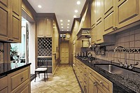 Wood_panelled kitchen with security cameras