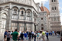 Piazza duomo and flowers show, Firenze, Tuscany, Italy, UNESCO World Heritage Site