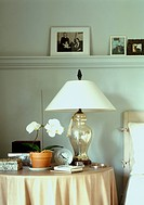 Bedside table in master bedroom with a lamp and orchids.