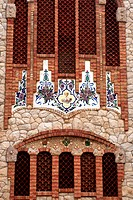 Europe, Spain, Novelda. Tiles of Santa Maria Magdalena, built by disciple of Gaudi.