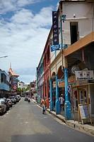 Shops in colonial era buildings in Cumming Street, Suva, Viti Levu, Fiji, South Pacific
